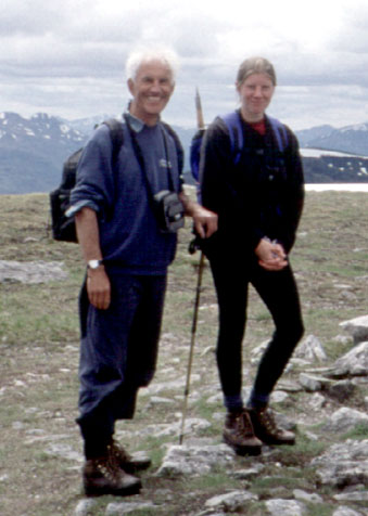 Richard and Lucy Gilbert on the summit of Creag Meaghaidh in May '99